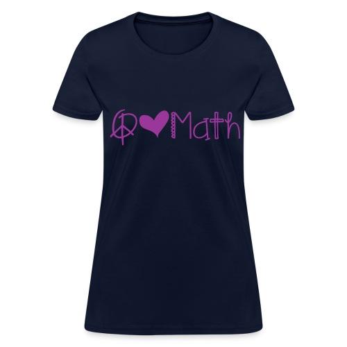 Peace love math purple image - Women's T-Shirt