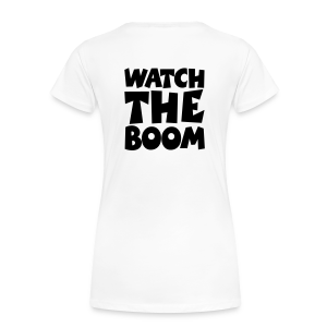 Sailing T-Shirt Watch the Boom (Women White/Black) Back - Women's Premium T-Shirt