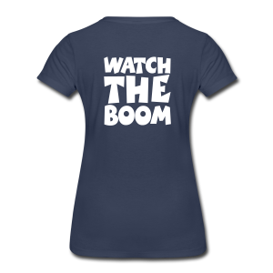 Sailing T-Shirt Watch the Boom (Women Navy/White) Back - Women's Premium T-Shirt