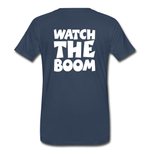 Sailing T-Shirt Watch the Boom (Men Navy/White) Back - Men's Premium T-Shirt