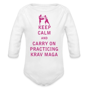 Keep Calm and Carry On Practicing Krav Maga - Long Sleeve Baby Bodysuit