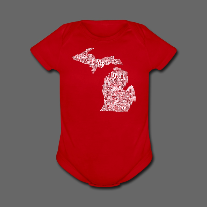 Michigan Words - Short Sleeve Baby Bodysuit
