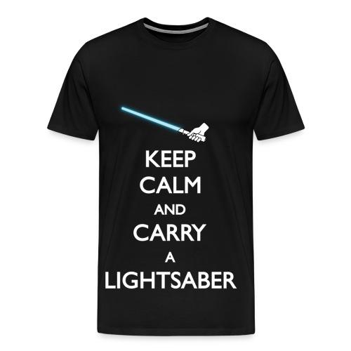 Keep Calm Blue Lightsaber - Men's Premium T-Shirt