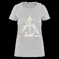 Women's T-Shirts ~ Women's T-Shirt ~ Deathly Hallows (Floral) - Women's T-Shirt