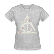 Women's T-Shirts ~ Women's T-Shirt ~ Deathly Hallows (Floral) - Women's T-Shirt