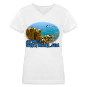 GREECETRAVEL MYKONOS BOAT (women's v-neck) - Women's V-Neck T-Shirt
