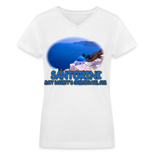SANTORINI OIA (women's V-neck) - Women's V-Neck T-Shirt