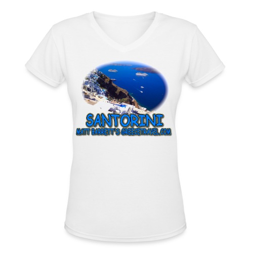 SANTORINI FIRA (women's V-neck) - Women's V-Neck T-Shirt