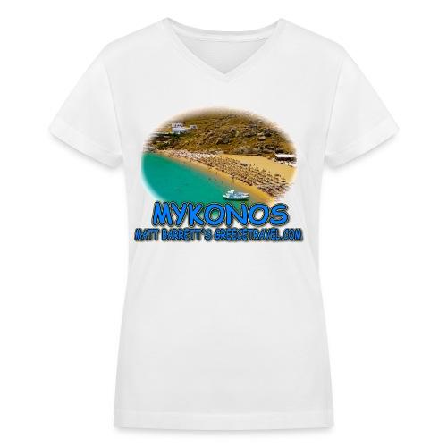 MYKONOS SUPER PARADISE (women V-neck) - Women's V-Neck T-Shirt