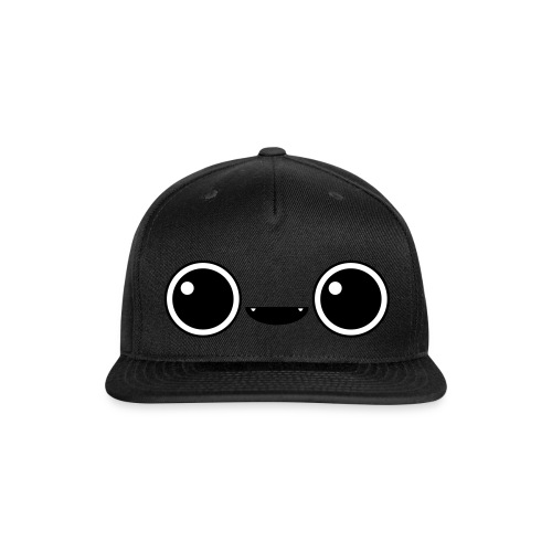 Cute Face Cap (Black) - Snap-back Baseball Cap
