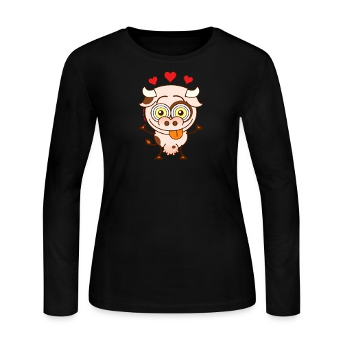 Cute cow falling madly in love Long Sleeve Shirts - Women's Long Sleeve Jersey T-Shirt