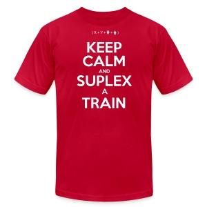 Keep Calm and Suplex A Train  - Men's Fine Jersey T-Shirt