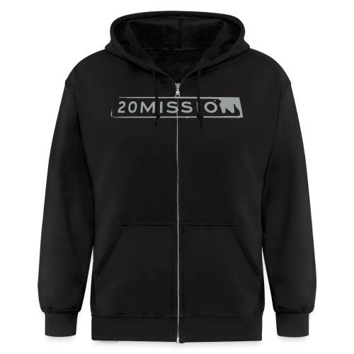 Dark navy hoodie with grey logo - Men's Zip Hoodie