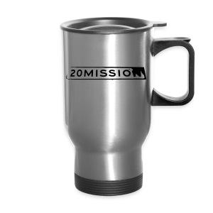 Brushed metal travel mug with black logo - Travel Mug