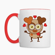 Funny dog feeling madly in love Mugs & Drinkware