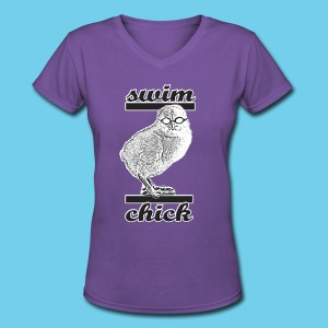 Swim Chick- Women's V-Neck- Design front/Rear Mini logo - Women's V-Neck T-Shirt