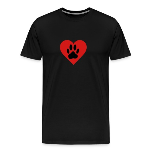 Black Dog Paw In Red Heart - Men's Premium T-Shirt