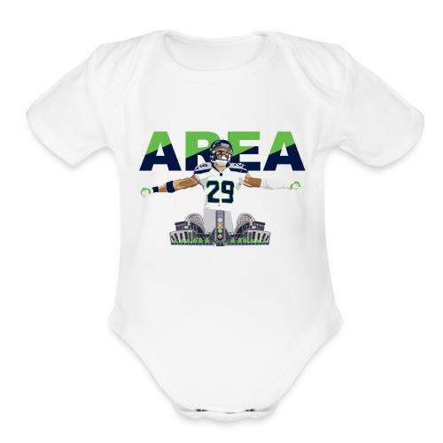 Baby Area 29 Colossus (White) - Organic Short Sleeve Baby Bodysuit