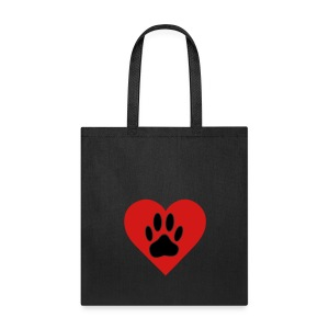 Black Dog Paw In Red Heart - Tote Bag