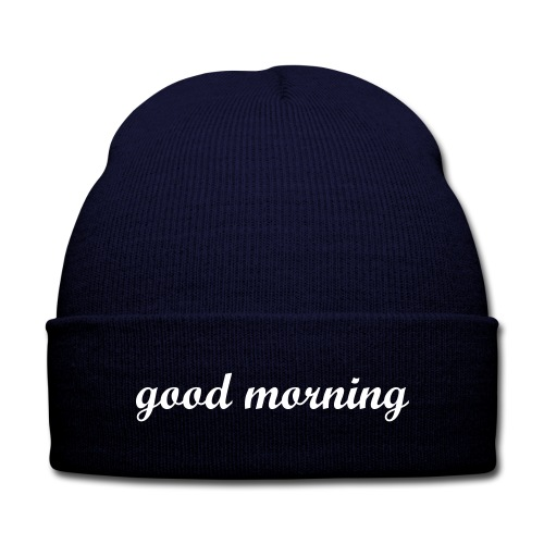 good morning - Knit Cap with Cuff Print