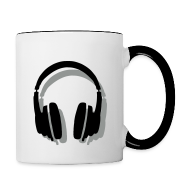 Mugs & Drinkware ~ Contrast Coffee Mug ~ Headphones Mug (White/Black) Shadow