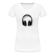 T-Shirts ~ Women's Premium T-Shirt ~ Headphones T-Shirt (Women/White) Shadow
