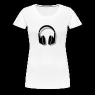 T-Shirts ~ Women's Premium T-Shirt ~ Headphones T-Shirt (Women/White) Shadow