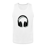 Sportswear ~ Men's Premium Tank ~ Headphones Tank Top (Men/White) Shadow