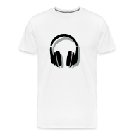 T-Shirts ~ Men's Premium T-Shirt ~ Headphones T-Shirt (Men/White) Shadow