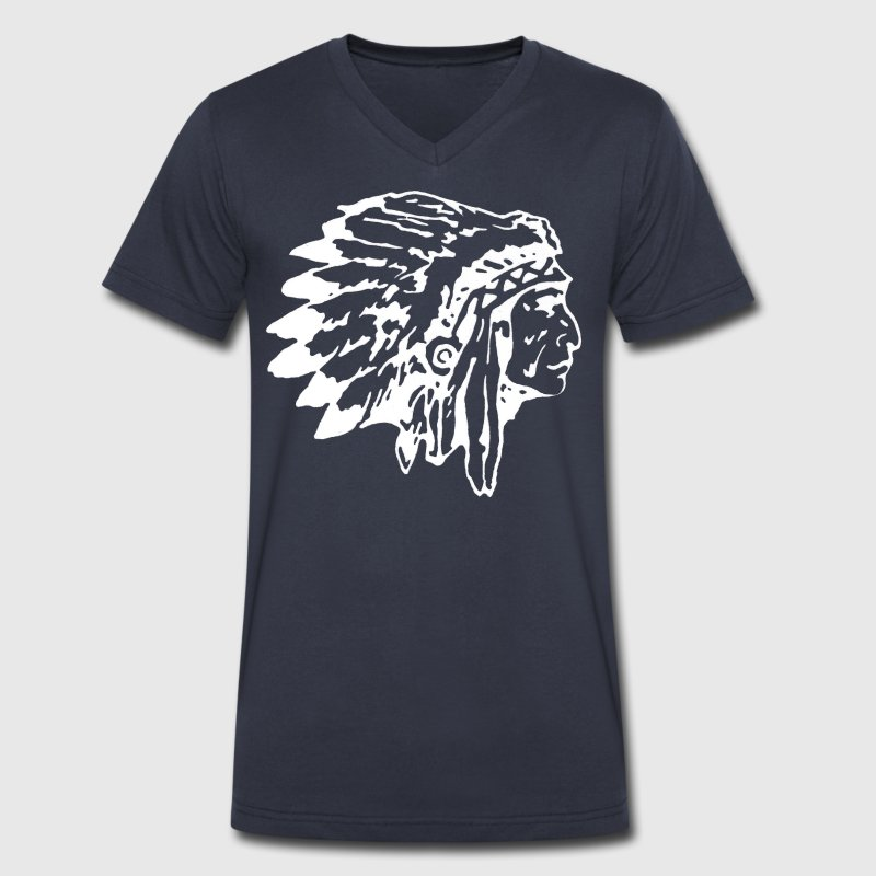 Native Indian Chief with Headress - Men's V-Neck T-Shirt by Canvas