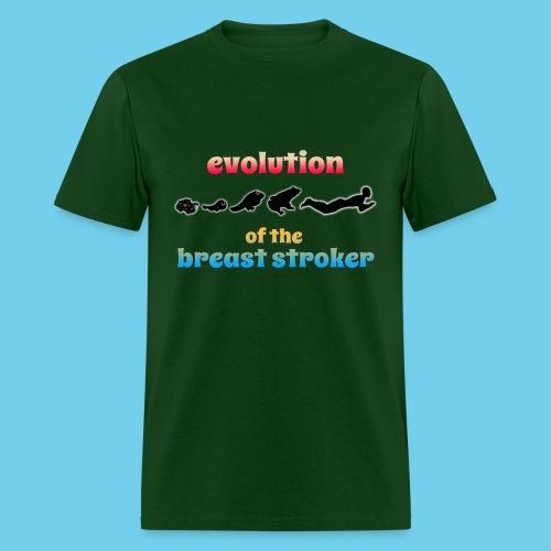 Evolution of the BreastStroker- Men's Tee- Front Design, Rear Mini Logo - Men's T-Shirt