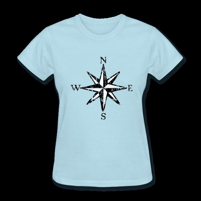 Compass Rose T Shirt Vintage Women Bicolor