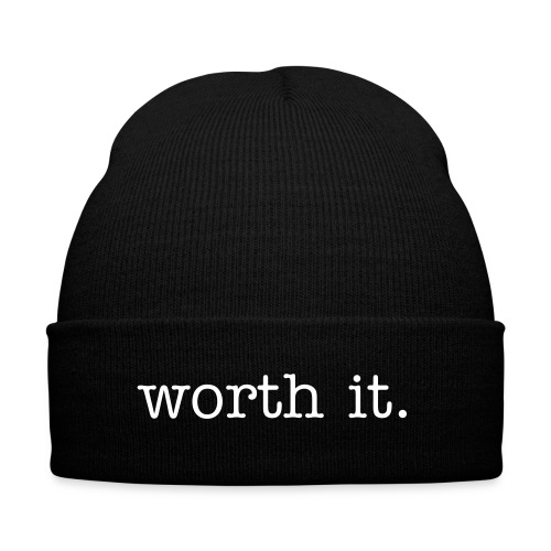Worth It beanie - Knit Cap with Cuff Print