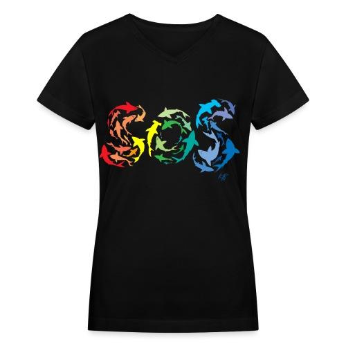 Iotti Special Sharks Front  - Women's V-Neck T-Shirt