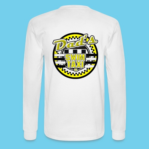 Dad's Swim Taxi- Men's LS Tee- Rear Design, Front Logo - Men's Long Sleeve T-Shirt