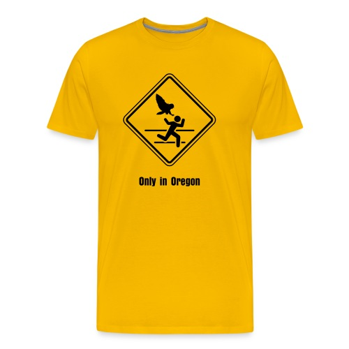 Owl Attack: Meanwhile in Oregon - Yellow - Men's Premium T-Shirt