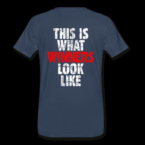 Winner T-Shirt S-5X (Vintage White/Red) Back - Men's Premium T-Shirt