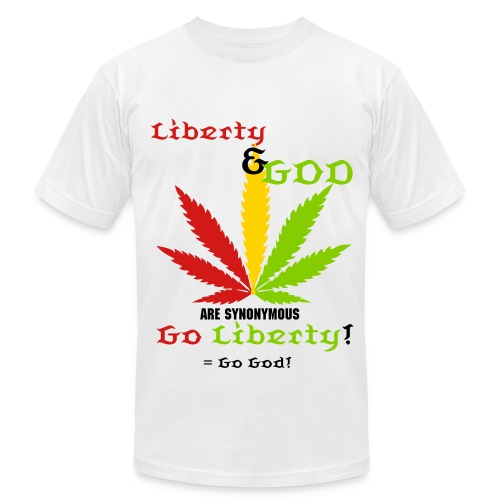 LIBERTY & GOD are synonymous - Men's Fine Jersey T-Shirt