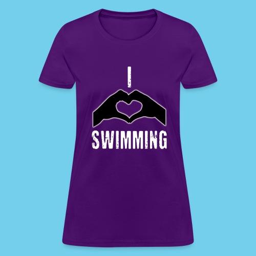 I HEART Swimming- Women's Tee- Front Design, Rear Mini logo - Women's T-Shirt