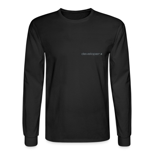 Black Longsleeve Hanes T w/ Silver d.* Logo - Men's Long Sleeve T-Shirt