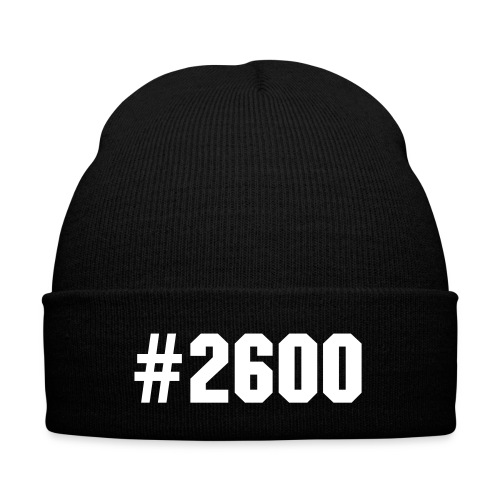 #2600 BEANIE(BLACK WITH WHITE) - Knit Cap with Cuff Print