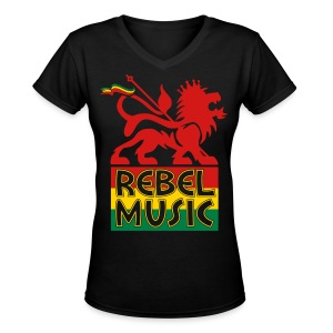 Rebel Music Women's V-Neck T-Shirt - Women's V-Neck T-Shirt