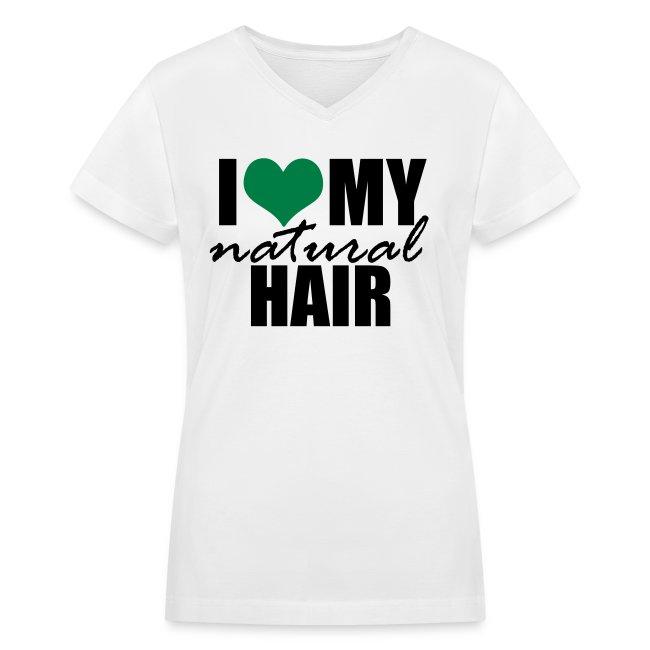 GREEN I Love My Natural Hair V-neck Women's T-shirt