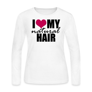 PINK I Love My Natural Hair Long Sleeve T-shirt - Women's Long Sleeve Jersey T-Shirt