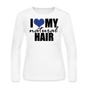 BLUE I Love My Natural Hair Women's Jersey T-shirt - Women's Long Sleeve Jersey T-Shirt