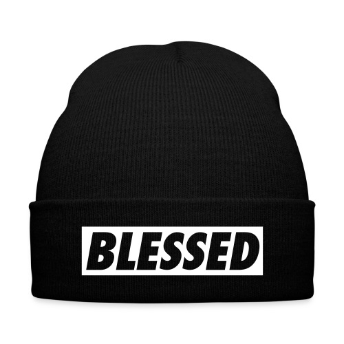 Fly & Humble BLESSED Hat - Knit Cap with Cuff Print