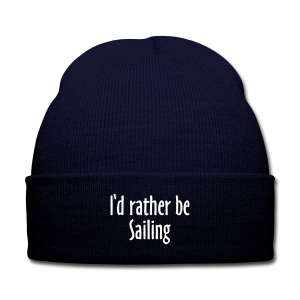 I'd rather be sailing Knit Cap (Blue/White) - Knit Cap with Cuff Print