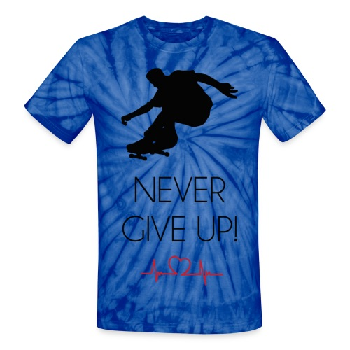 Tie Dye HeartBeat Never Give Up! Tee - Unisex Tie Dye T-Shirt