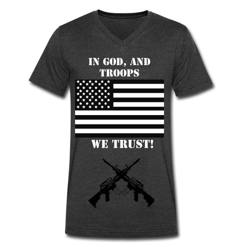 Support Our Troops Grey - Men's V-Neck T-Shirt by Canvas