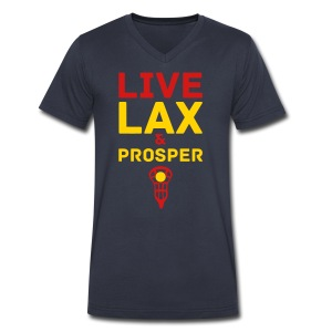 Live Lax And Prosper Lacrosse T-Shirt - Men's V-Neck T-Shirt by Canvas